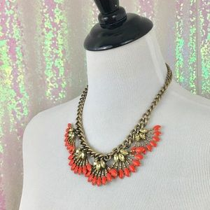 Stella & Dot Coral/ Rhinestone Fireworks Necklace